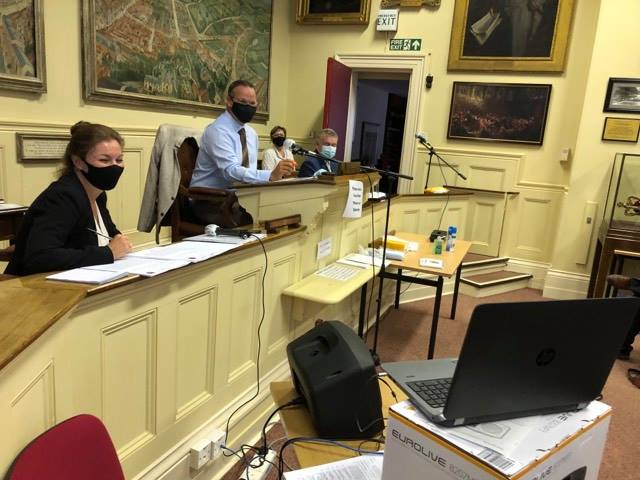 Council Chairman and Town Clerk at face to face meeting