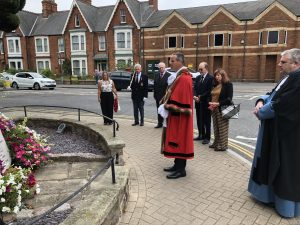 The Mayor and Mayoress laid a wreath at the War Memorial on Eastgate