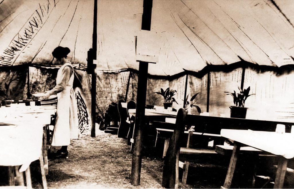 Mrs Knight in the dining tent