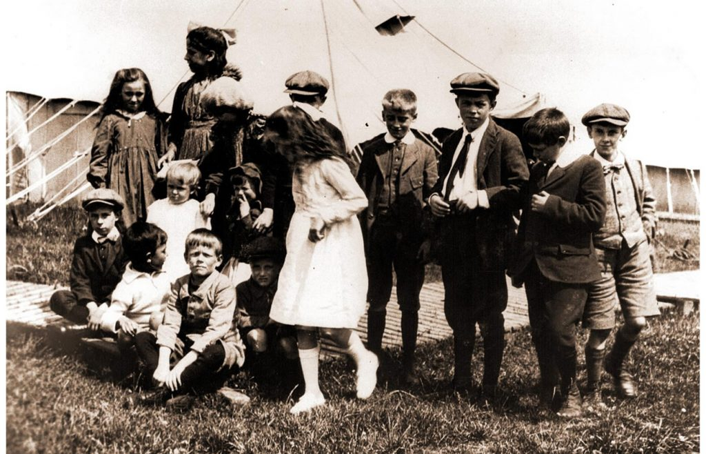 Children of the camp play