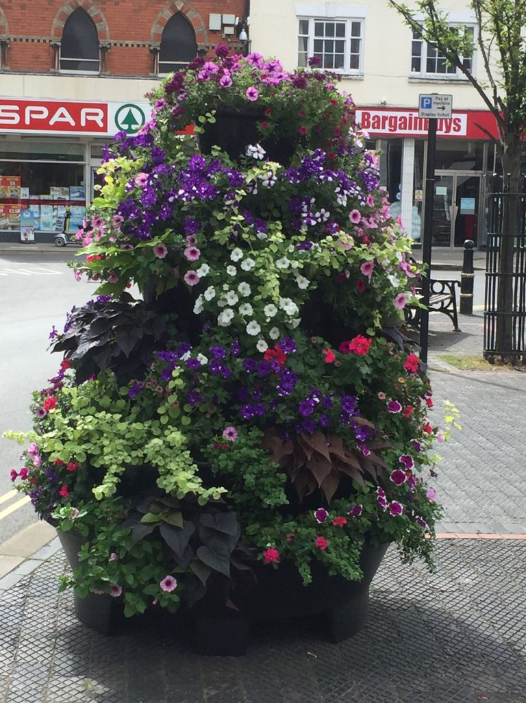 Flower planter in Market Place in Louth