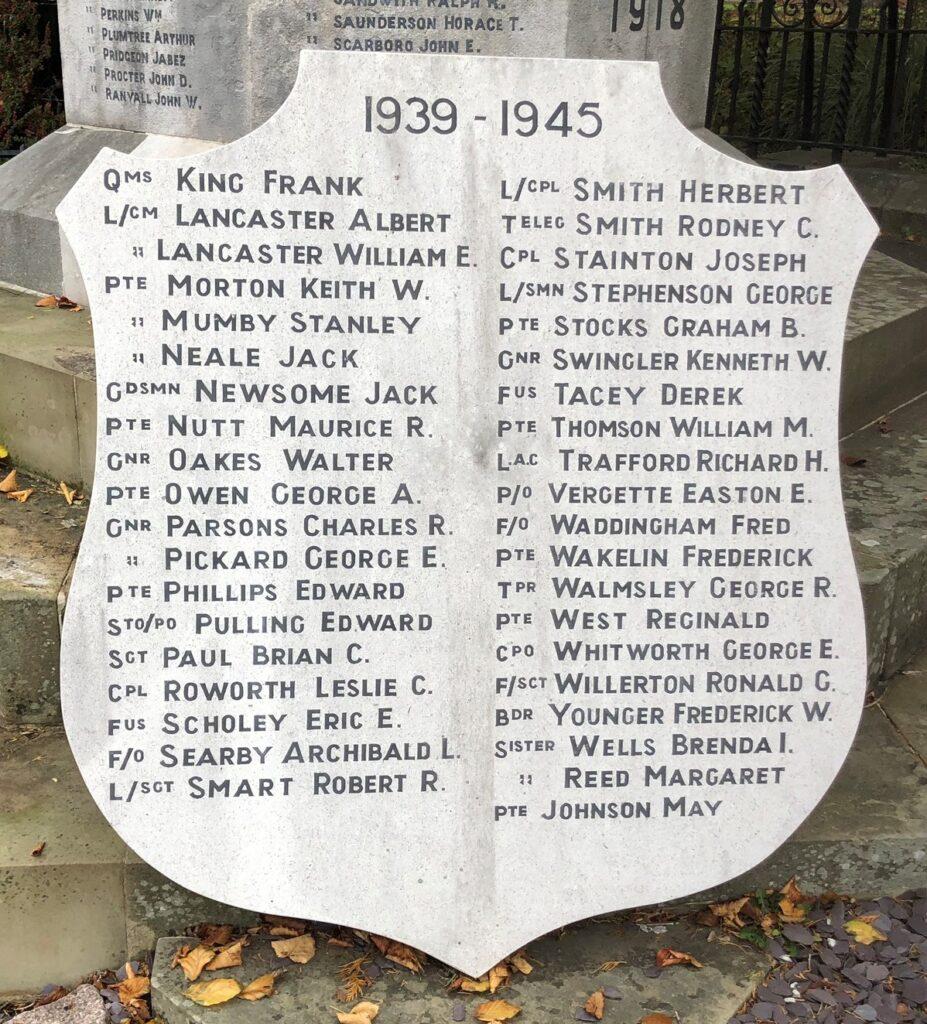 World War II Memorial Shield at Louth
